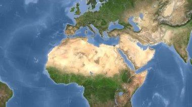 Libya outlined and glowed. Neighbourhood. Satellite — Stock Video