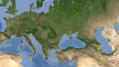 Moldova outlined and glowed. Neighbourhood. Satellite — Stock Video