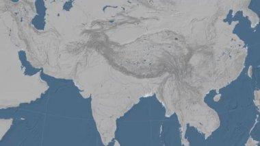 Nepal outlined and glowed. Neighbourhood. Elevation — Stock Video