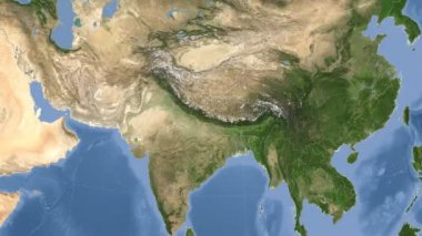 Nepal outlined and glowed. Neighbourhood. Satellite — Stock Video