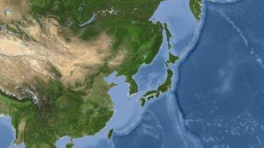 North Korea outlined and glowed. Neighbourhood. Satellite — Stock Video
