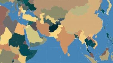 Pakistan outlined and glowed. Neighbourhood. Administrative — Stock Video