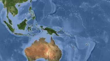 Papua New Guinea outlined and glowed. Neighbourhood. Satellite — Stock Video
