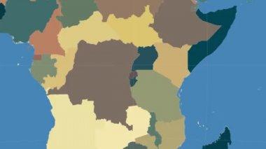 Rwanda outlined and glowed. Neighbourhood. Administrative — Stock Video
