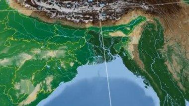 Tripura - India region extruded. Bumps shaded — Vidéo