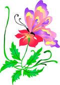 Butterfly on flower — Stock Vector