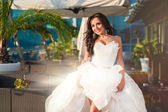 Adult beauty woman bride in wedding dress — Stock Photo