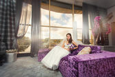 Bride sitting in the room — Stock Photo