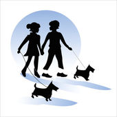 Couple with dogs. — Stock Vector