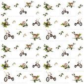 Rose en fiets. Naadloze patroon. — Stockvector