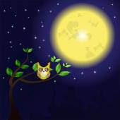 Huge moon and owl on the tree — Stock Vector