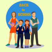 Teacher and students — Stock Vector