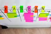 Image of inscription kanban tool colored stickers on a white board. — Stock Photo