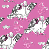 Seamless pattern of white kissing doves on pink background — Stock Vector