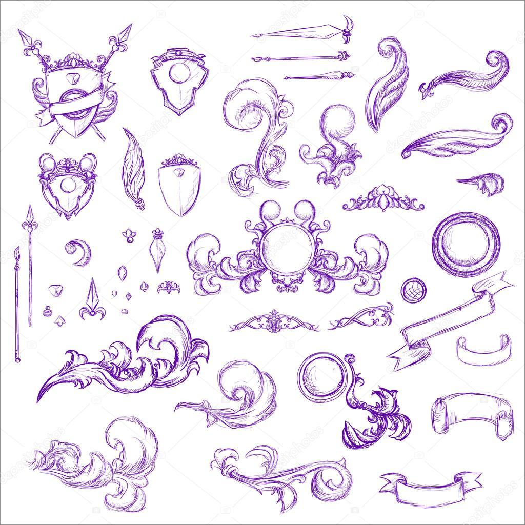 Vintage set decoraci n elementos de men elegancia de edad mano dibujo s vector de stock - Elementos de decoracion ...