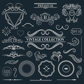 Vintage dekor öğeleri menü için ayarlayın. Elegance eski el çizim s — Stok Vektör