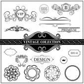 Vintage set decor elements for menu. Elegance old hand drawing s — Stock Vector