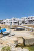 Storeroom boats of fishing village, Menorca, Spain — Stock Photo