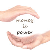 Hands concept for money is power — Stock Photo