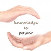 Hands concept for knowledge is power — Stock Photo