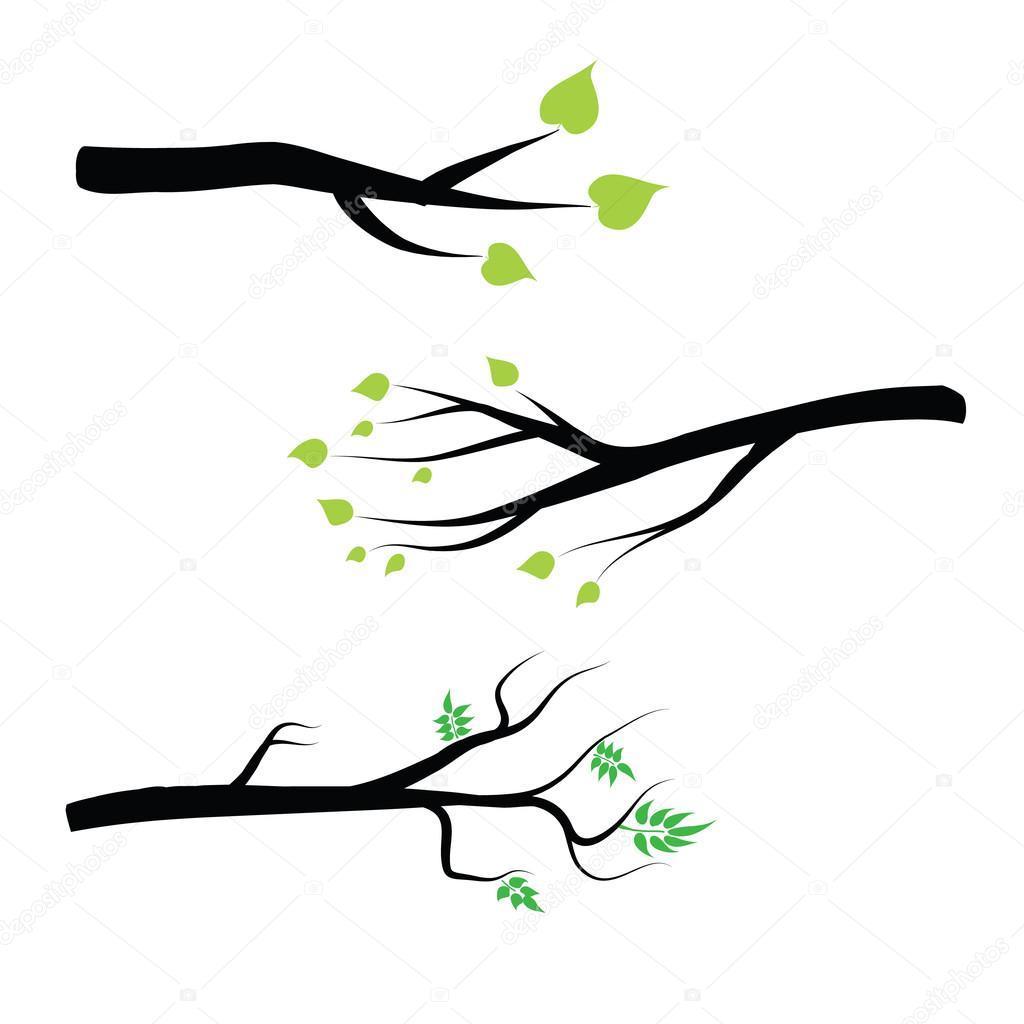 Ramas de los rboles vector set ramas de rbol silueta - Ramas de arbol para decoracion ...