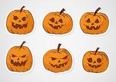 Halloween pumpkins stickers — Stock Vector