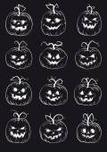 Set of pumpkins isolated on black background — Stock Vector