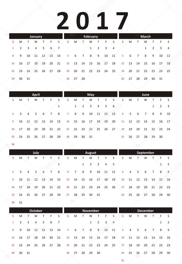 calendar 2017 year strict business style black and white. Black Bedroom Furniture Sets. Home Design Ideas