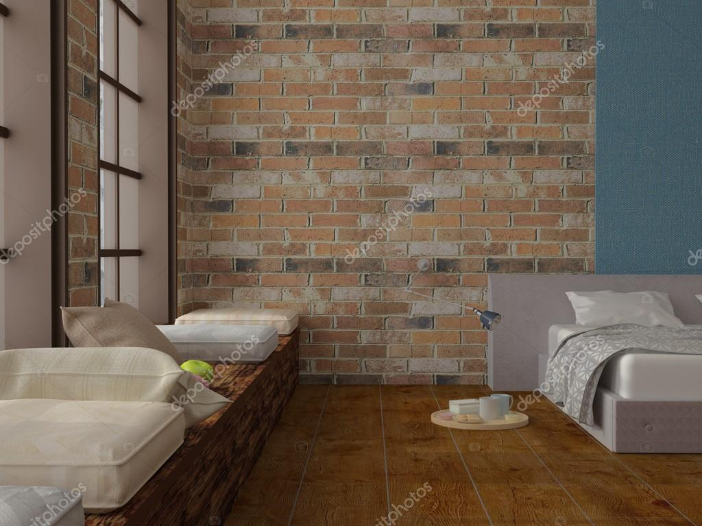 Göra av sovrum med skärmaskin med frukost på tegelväggar lövträ ...