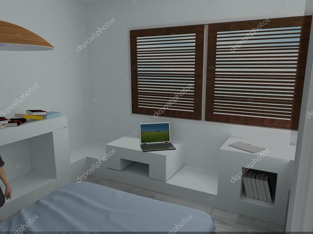 Modernt sovrum med träfönster — stockfotografi © lisunova #81656264