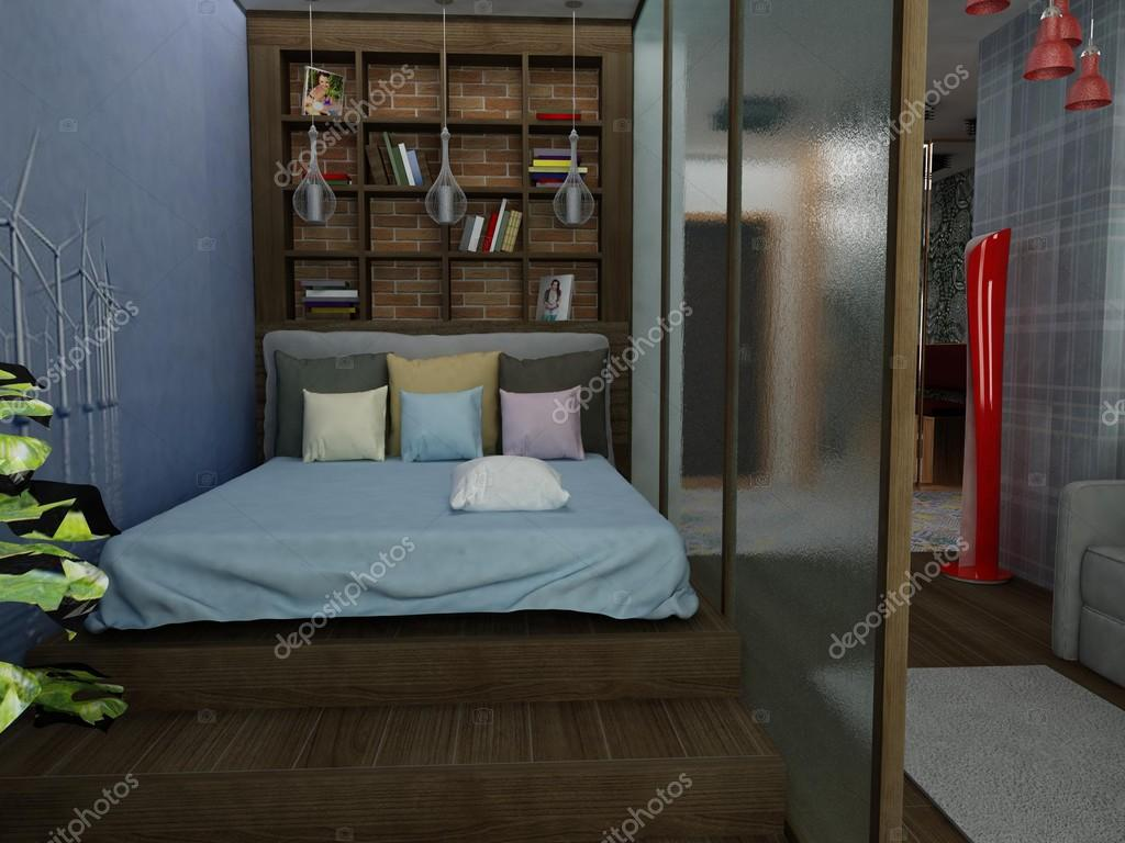Moderne kleine slaapkamer — stockfoto © lisunova #81656794