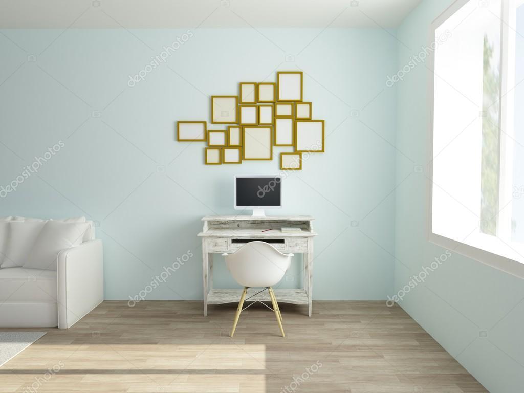 Interni accoglienti dello spazio di lavoro in appartamento for Lavoro arredatore d interni
