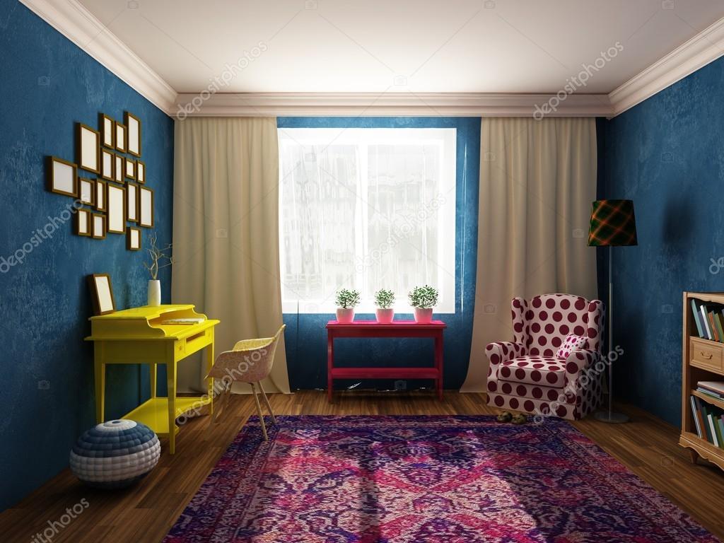 Sala da pranzo e armadio in colori vivaci, mobili depoca e in ...