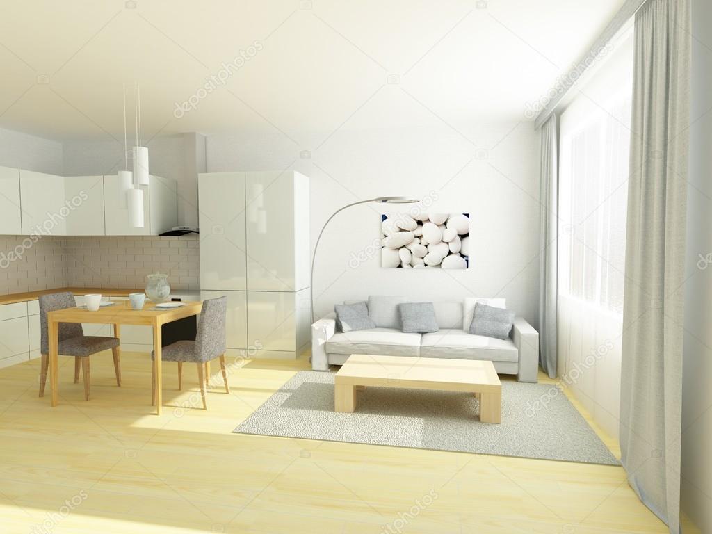 Studio i en liten lägenhet i grÃ¥ och vita färger — stockfotografi ...