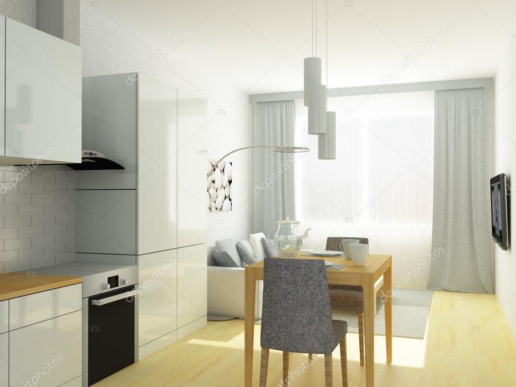 Liten lägenhet, studiorum, kök och vardagsrum i ljus grå färger ...