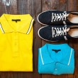 Men's set : polo and running shoes — Stock Photo #81895912