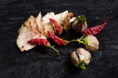 Salo with spices,garlic  and red pepper — Stock Photo