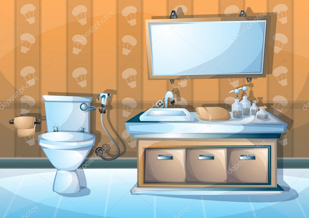 Dibujos animados vector ilustraci n interior cuarto de for Precio hacer un cuarto de bano nuevo