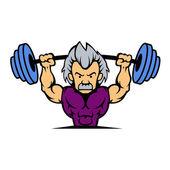 Old man lifting weights cartoon — Stock Vector