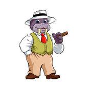 Elegant walrus with Cigar — Stock Vector