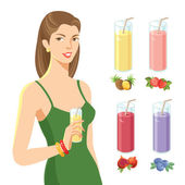 Girl with glass of juice — Stock Vector