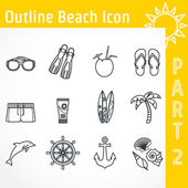 Outline Beach Icon — Stock vektor
