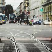 Tram e tramvia nel centro di Torino — Stock Photo
