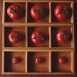 There are Tomatoes in a wooden form — Stockfoto #85091408
