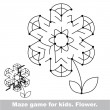 Постер, плакат: Search the way Flower kid maze game