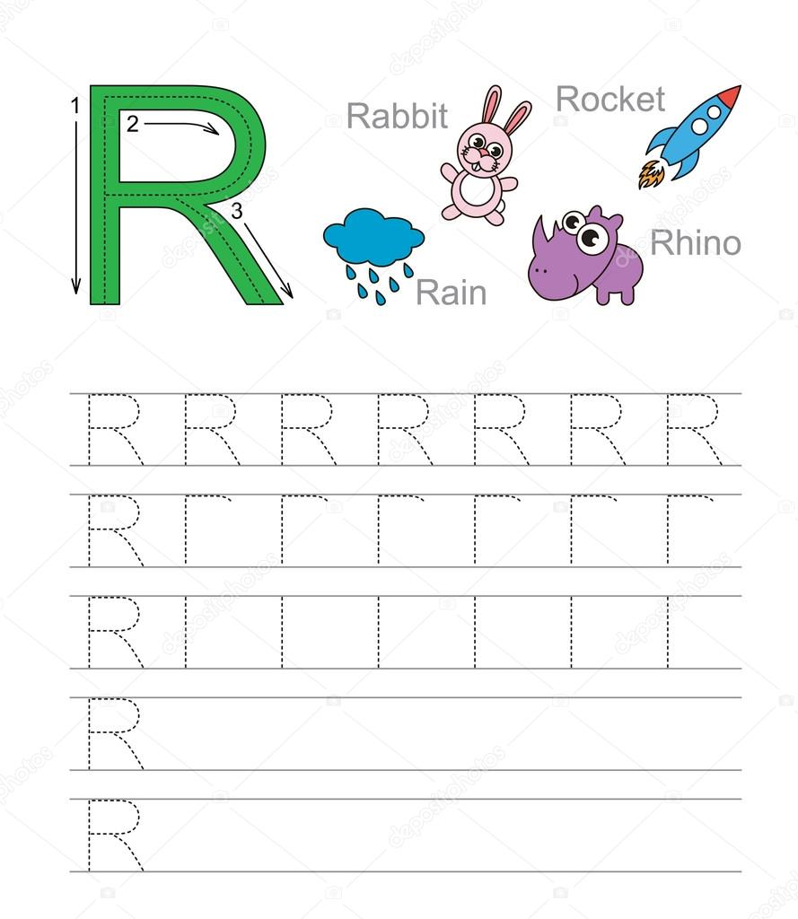 Worksheet Learn Handwriting letter r learn handwriting stock vector anna mikhailova exercise illustrated alphabet tracing worksheet for by mikhail