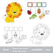 Toy lion. What is the word hidden. Task and answer. — Stock Vector