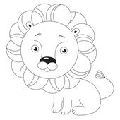 Toy lion. Page to be colored. — Stock Vector
