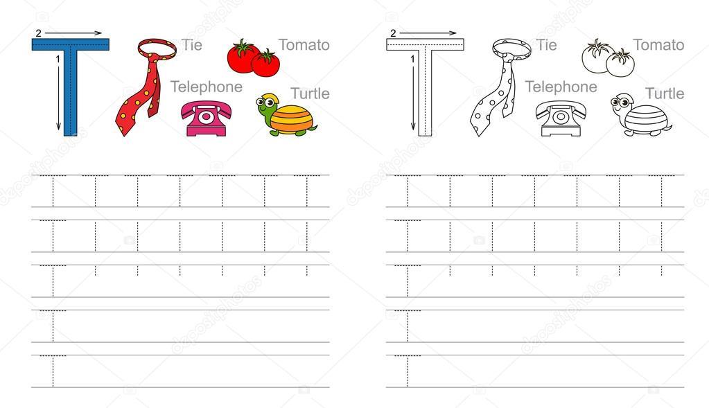Ablaufverfolgung Arbeitsblatt zum Buchstaben T — Stockvektor © Anna ...