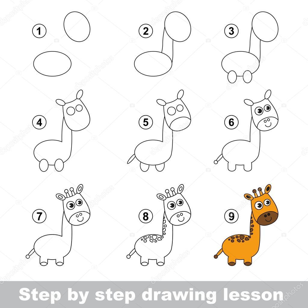 disegno tutorial come disegnare una giraffa vettoriali